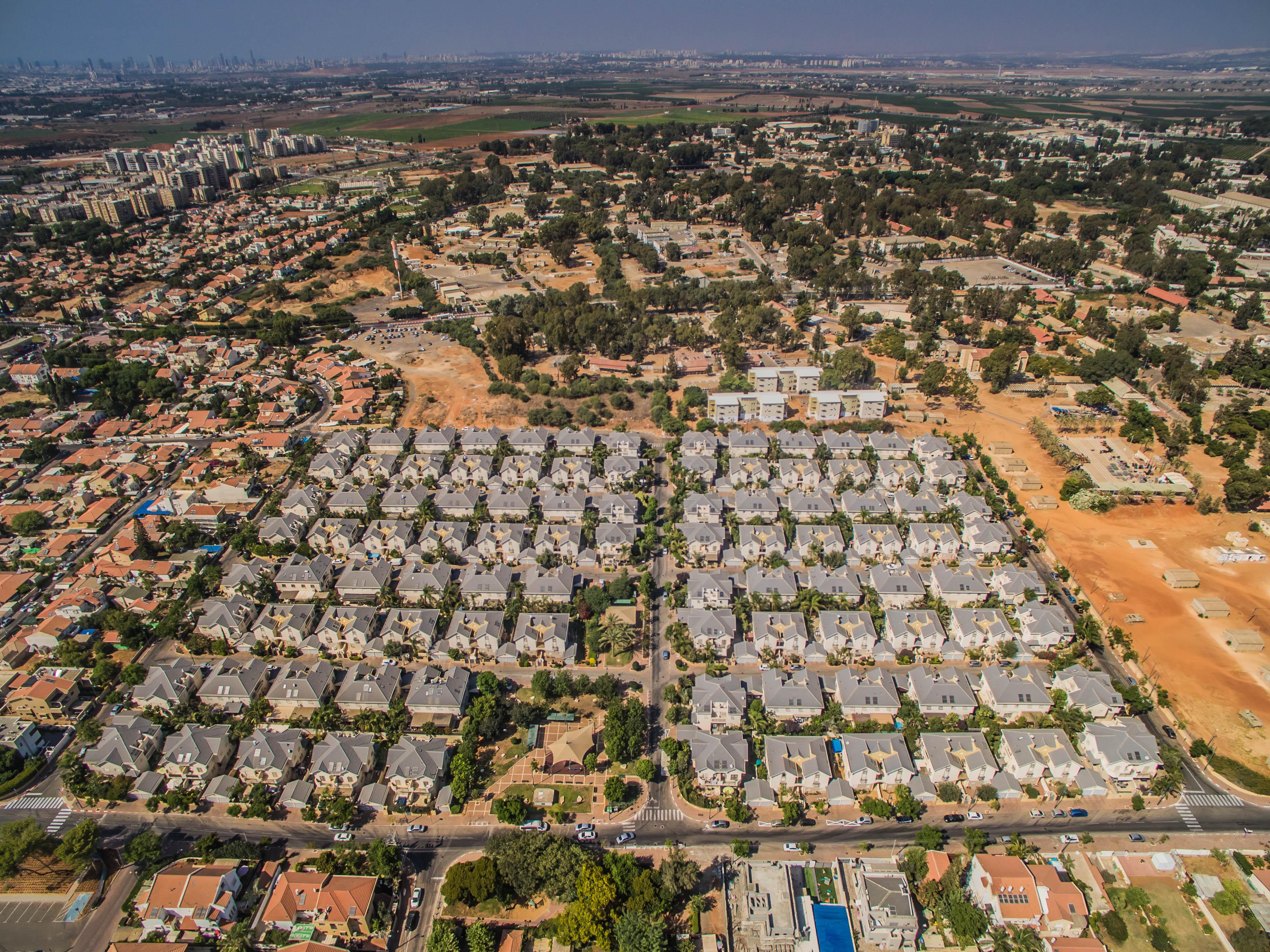 צילום אווירי של שכונת מגורים